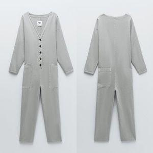 Zara textured weave jumpsuit